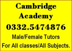 Cambridge Academy Provides Experienced(HOME TUTORS)in RWP All Areas