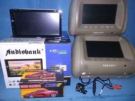 Paket doubledin tv audiobank hedrest camera parkir berikut pasang