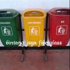 tempat sampah 3 pila fiberglass, produksi tong sampah
