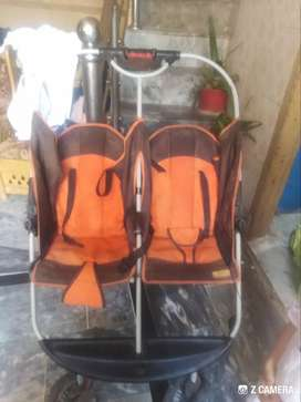 Double baby pram import from UAE in good condition