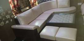 7 seater sofa set with centre table and leather seat