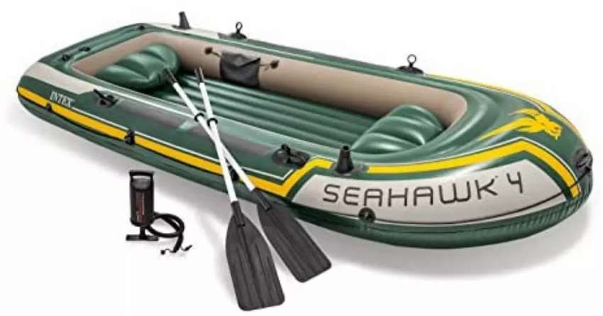 Intex Seahawk 4 Boat Set four man inflatable dinghy with oars and pump 0