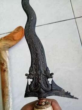 Keris antik tua naga manten luk 9 sangat langkah berpamor uler lulut