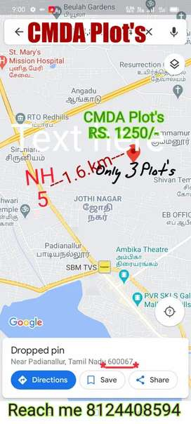 CMDA Plot's at NH 5 Padiyanallur near Only 3 Plot's Available
