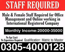 Home Based job,Full time and Part time jobs for Males , Female