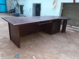 Wooden office counter table with computer key pad plank and lockers ..