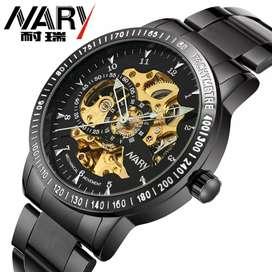 Nary Jam Tangan Mechanical Strap Stainless Steel - 18026 - Black