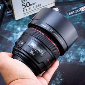 Canon 50mm f1.2 L USM kode UE. Fullset Like New. lensa mewah
