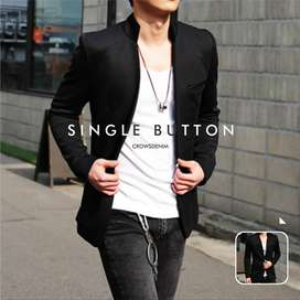 Blazer Pria Hitam Casual Single Button Shanghai Style BK2