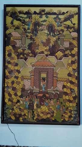 Lukisan tradisi Bali tema Panen, ukuran besar