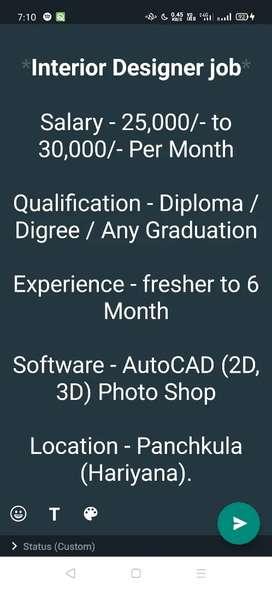 Interior Designer job for Freshers salary upto 30,000/-