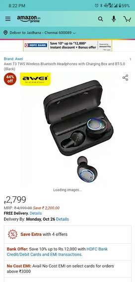 Awei T3 Tws Earbuds, Headphones With Charging Case V5.0