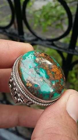Cincin Batu Pirus / Turqoise Persia lawasan motif singa kilin