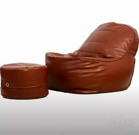 Couchette XXXL Luxury bean bag with stool and beans (fillers)