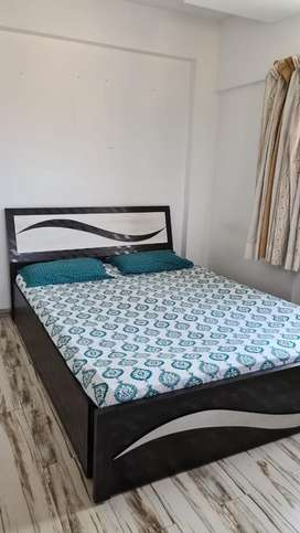 Beautiful brown and white bed with single wadrobe + small storage box