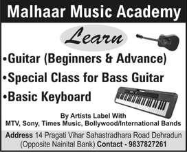 Learn guitar, bass guitar, keyboard