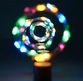 Hiasan lampu LED multicolour tutup botol kaca / wine