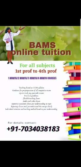BAMS (Ayurveda) tuition for all subjects from 1st prof to 4th prof