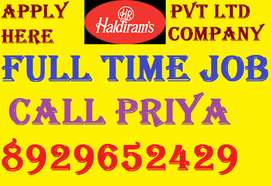 HALDIRAM Company Job Full Time Hrring Helper Store Keeper Supervisor..
