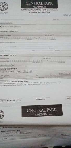 Bahria centeral park apartment Registration Form available