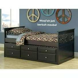 Tempat tidur anak dorong modern& mewah, bahan kayu jati tua terbaik