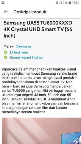 SMART TV SAMSUNG CRYSTAL 55 INCH -UHD 4K-HDR-YOUTUBE-NETFLIX-55TU6900
