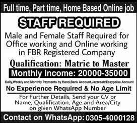 Part-time Full-time Home-Based job vacancies Available