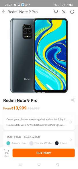 Redmi note 9 pro 4gb 64 seal pack