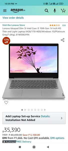 Lenovo ideapad 3i i3 4Gb ram 1 TB 10th gen