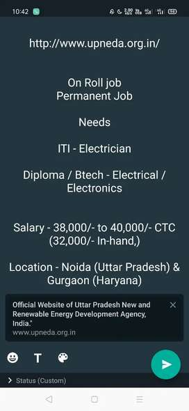 Btech - Electronic's Electrical fresher jobs with salary 40,000/- p.m