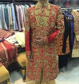 Nawabi Dulha Shervani Designer with Mozdi & Har (mala) only 1 time use