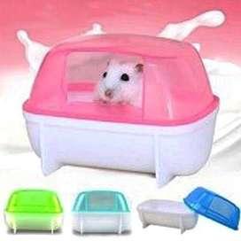 Tempat Mandi Hamster Wadah Pasir Bathroom Bak Makan Kelinci Pet Shop
