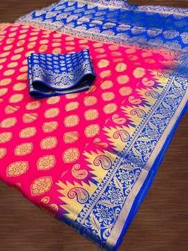 Women's Beautiful Jacquard Weaving Kanchivaram Rich Pallu Saree