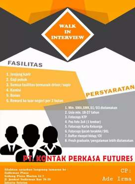 Dibutuhkan segera kandidat baru Pria/Wanita di Perusahaan kami