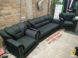 Brand new 3+1+1 sofa set in dark gray and black color from dealer
