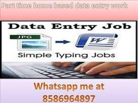 Offline Data Entry Job, part-time job,typing work home based job