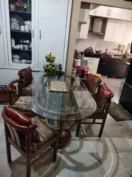 Sheesham double Glass Dining Table 6 chairs 6x3 ft