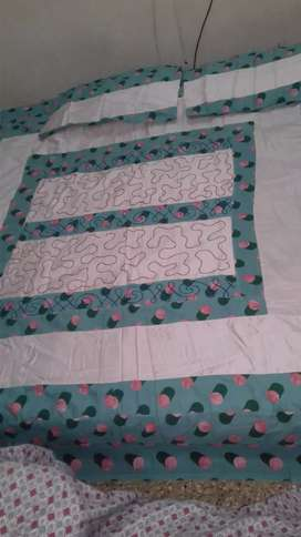 Cotton embroidery applique king size bed sheet