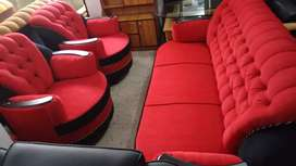 Turner in Red fabric 3+1+1 sofa set