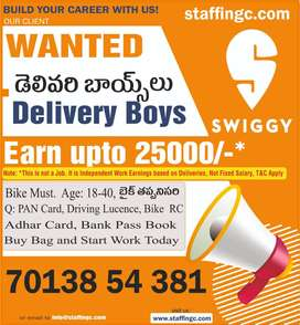 wanted swiggy  food delivery boys