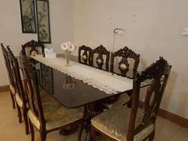Chinioti carving 8 chairs Dining table with thick glass top