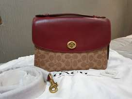 Preloved like new coach cassie signature red tan asli authentic ori