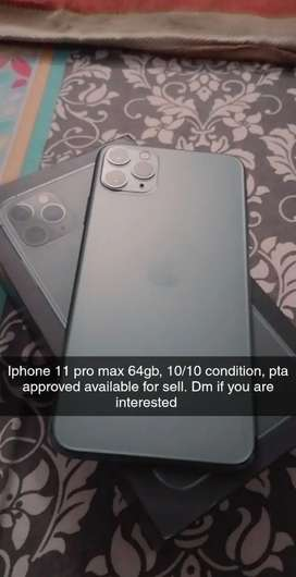 Iphone 11 pro max 64gb, pta approved grey/green colour