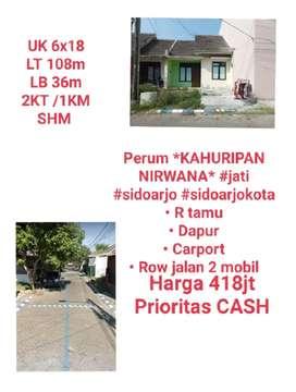 Dijual Rumah Perum Kahuripan Nirwana Jati Sidoarjo