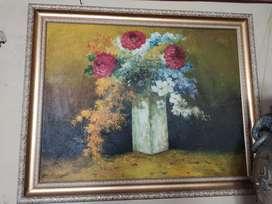 Lukisan palet Karya Budi Sutrisno 2002 Vas Bunga Lawas