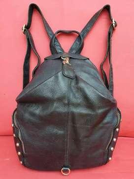 Tas import eks fashion backpack/ransel hitam unik lucu kulit asli tbal