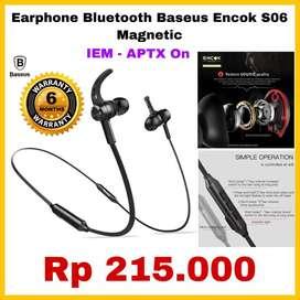 Original Earphone bluetooth basues Encok s06 magnetic -IRM APTX Mantap