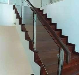 Reling tangga pegangan kayu dan balkon stainless #2642
