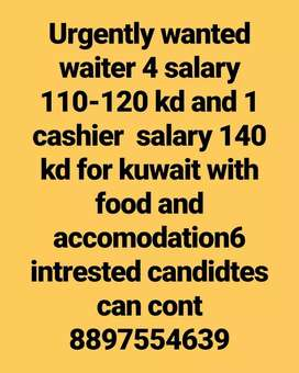Wanted waiters and cashier for kwait