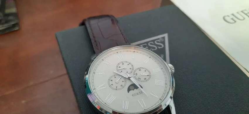 Jam tangan guess original strap coklat kulit